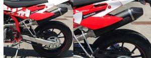 Arrow Racing Kpl. Auspuffanlage mit Carbon-Entkappe ohne StVZO-Zulassung entsprechend für RS 125 R und SM 125 R